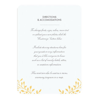 Secret Garden Wedding Insert Card - Mustard 11 Cm X 16 Cm Invitation Card
