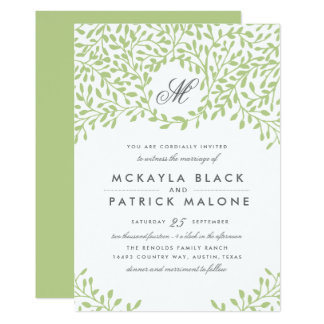 Secret Garden Wedding Invite - Green