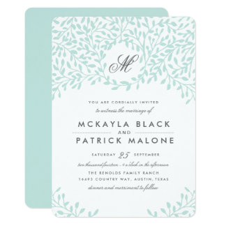Secret Garden Wedding Invite - Mint