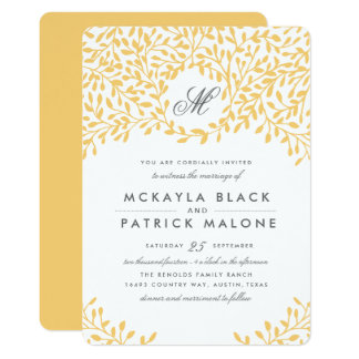 Secret Garden Wedding Invite - Mustard