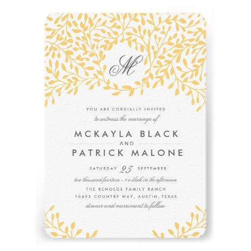 Secret Garden Wedding Invite - Mustard