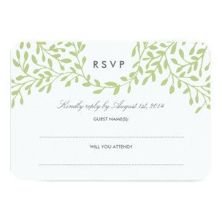 Secret Garden Wedding RSVP - Green 9 Cm X 13 Cm Invitation Card