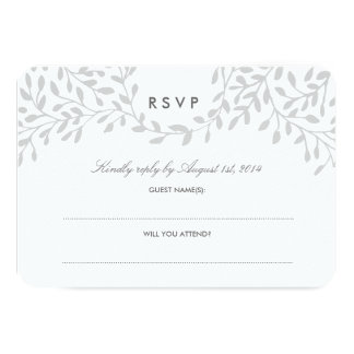 Secret Garden Wedding RSVP - Grey 9 Cm X 13 Cm Invitation Card