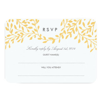 Secret Garden Wedding RSVP - Mustard 9 Cm X 13 Cm Invitation Card