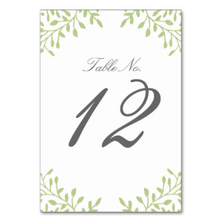 Secret Garden Wedding Table Number - Green