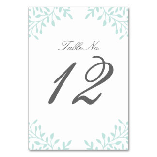 Secret Garden Wedding Table Number - Mint