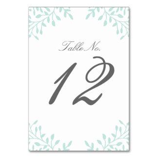 Secret Garden Wedding Table Number - Mint Table Cards