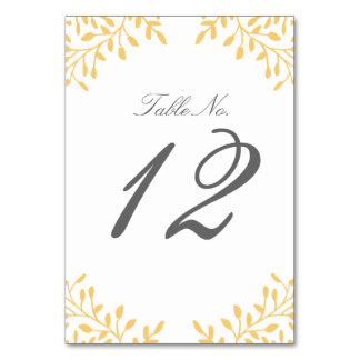 Secret Garden Wedding Table Number - Mustard Yello Table Card