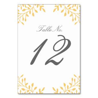 Secret Garden Wedding Table Number - Mustard Yello Table Card