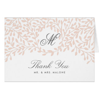 Secret Garden Wedding Thank You Card - Blush