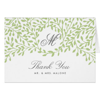 Secret Garden Wedding Thank You Card - Green