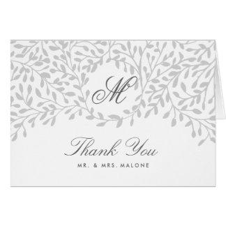 Secret Garden Wedding Thank You Card - Grey