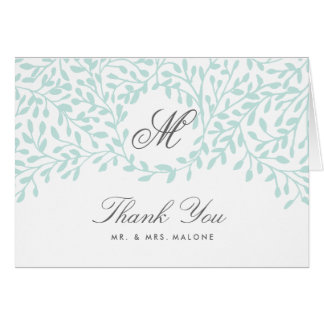 Secret Garden Wedding Thank You Card - Mint