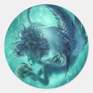 Secret Kisses Dark Mermaid Round Sticker