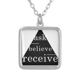 Secret law of attraction square pendant necklace