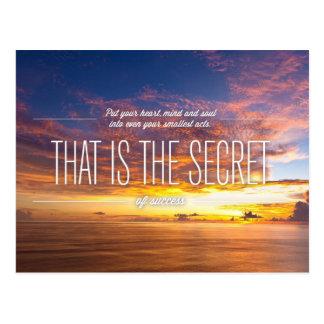 Secret Of Success - Motivational Quote Post Card