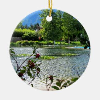 Secret pond on a beautiful sunny day christmas tree ornament