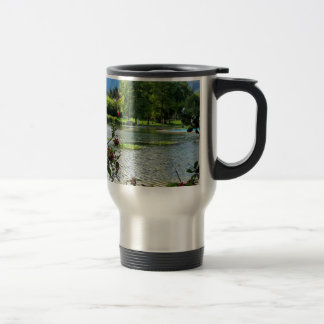 Secret pond on a beautiful sunny day mug