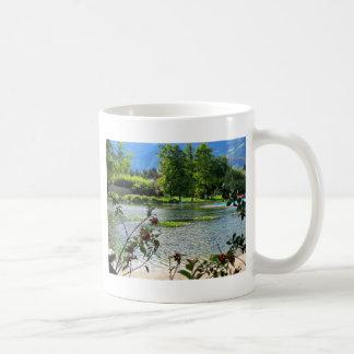 Secret pond on a beautiful sunny day coffee mug
