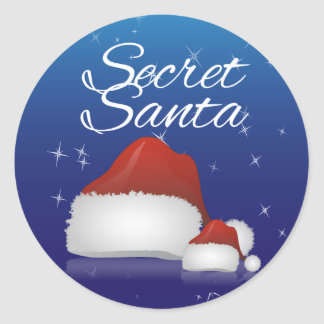 Secret Santa, Blue/Hat Round Sticker