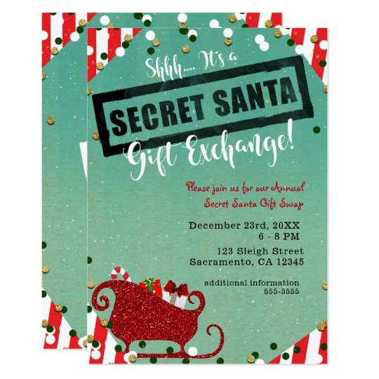 Secret Santa Gift Exchange Christmas Holiday Party Card