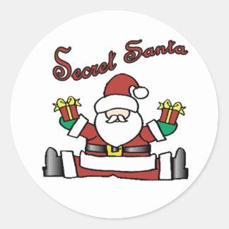 secret santa round stickers