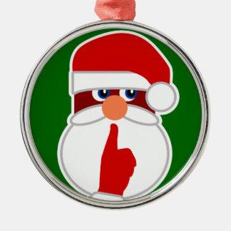 Secret Santa Silver-Colored Round Decoration