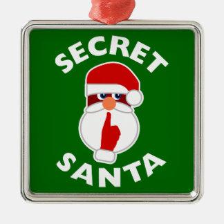 Secret Santa Silver-Colored Square Decoration