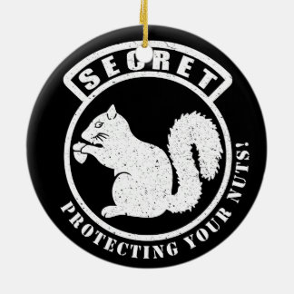 Secret Squirrel Patch Protecting Your Nuts Round Ceramic Decoration