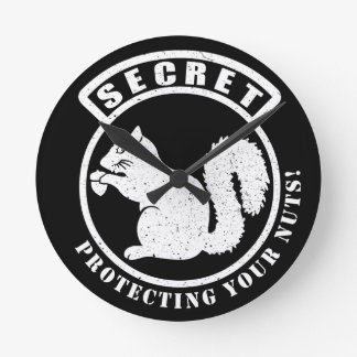 Secret Squirrel Patch Protecting Your Nuts Round Clock