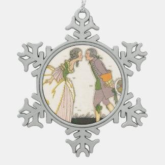Secret Stolen Kiss Vintage Colonial Couple Snowflake Pewter Christmas Ornament