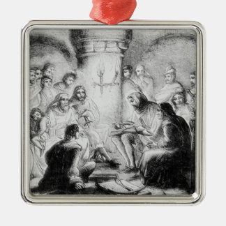 Secret Study of Wycliffe's Bible Silver-Colored Square Decoration