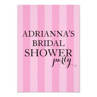 Secret Surprise Bridal Shower Party Pink Stripes Card