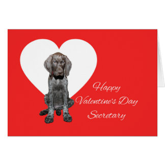 Secretary Glossy Grizzly Valentine Puppy Love Card