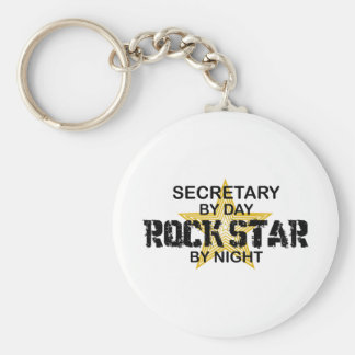Secretary Rock Star by Night Basic Round Button Key Ring