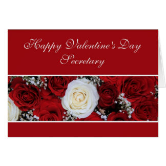 Secretary Valentine's Day red and white roses Card
