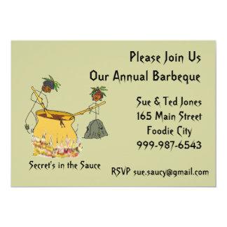 "Secret's in the Sauce-Stick Figure Chefs BBQ 5"" X 7"" Invitation Card"