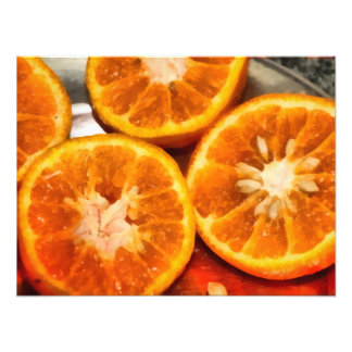 Section of cut oranges photo print