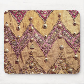 Section of embroidered fabric with gold plaques mouse pad