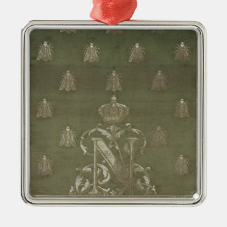 Section of green and gold damask Silver-Colored square decoration