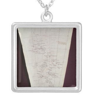 Section of Map from Ross Island to South Pole Silver Plated Necklace