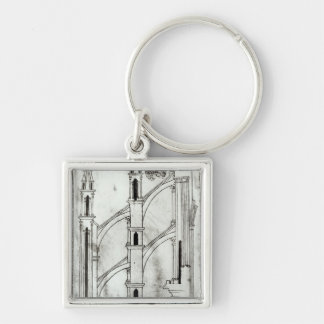 Section of the wall and arch Silver-Colored square key ring