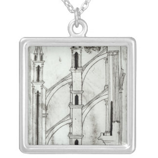Section of the wall and arch silver plated necklace