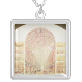 Section perspective silver plated necklace