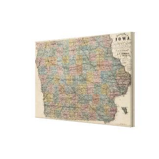 Sectional map of Iowa Canvas Print