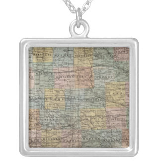 Sectional map of Iowa Silver Plated Necklace
