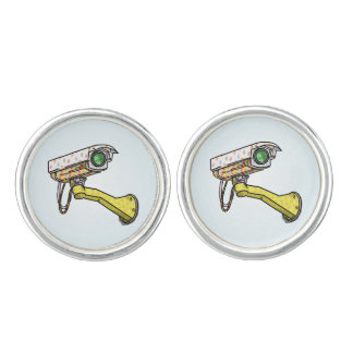 Security Camera With Funny Patterns Cufflinks
