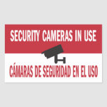 Security Cameras in Use Bilingual Spanish English Rectangular Sticker