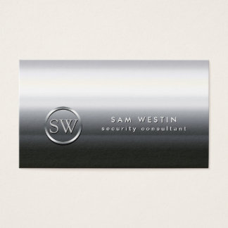 Security Consultant Chrome Monogram Business Card