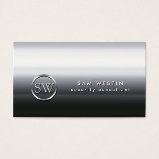 Security Consultant Chrome Monogram Business Card